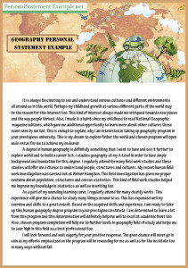great geography personal statement example