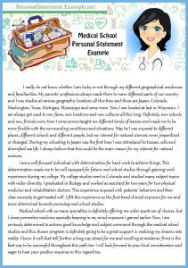 tips on med school personal statement example