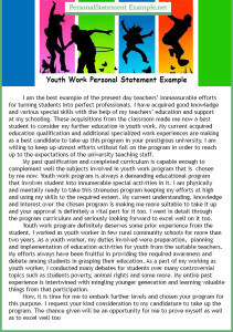 modern youth work personal statement example