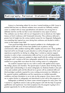 example for radiography personal statement