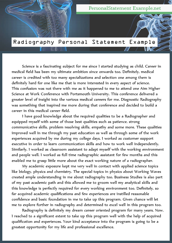 Personal Statement Example Radiography - Radiology