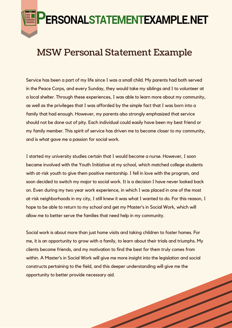 Msw personal statement