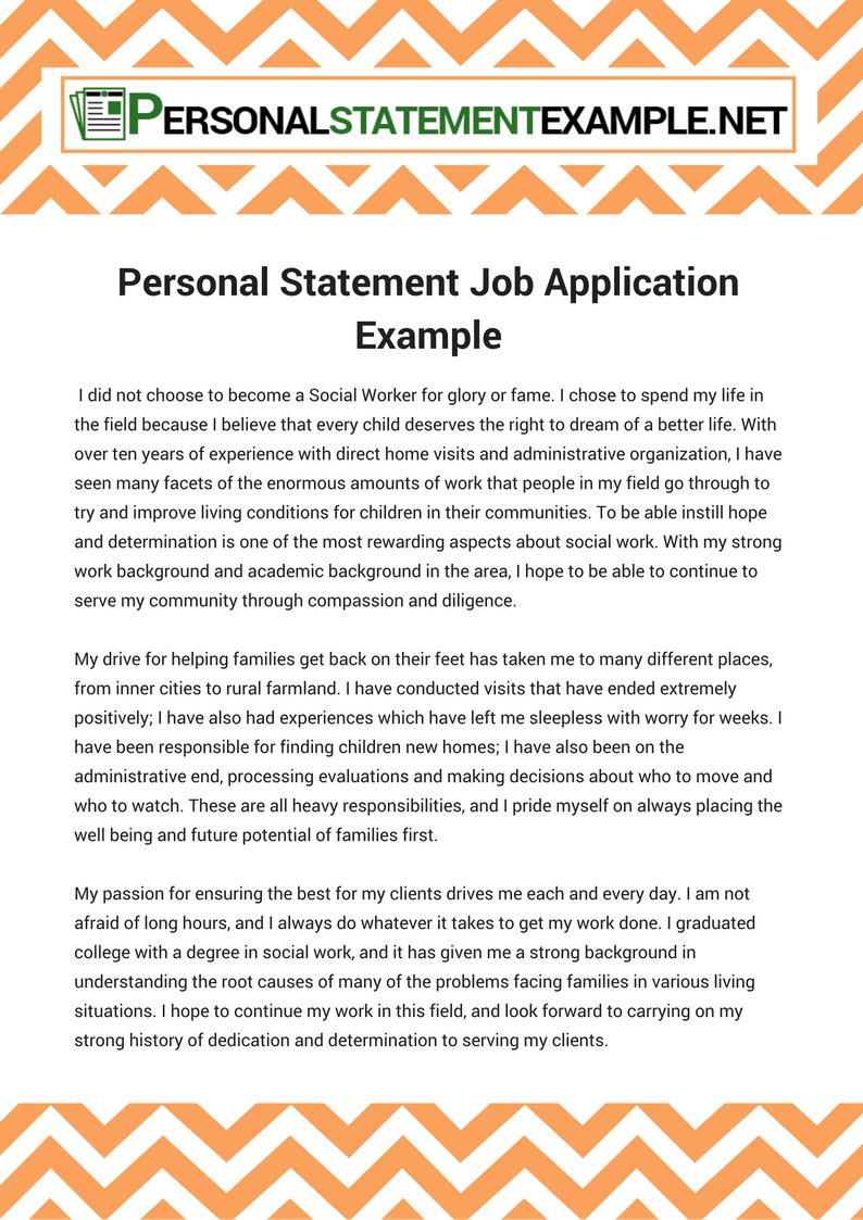 examples of a personal statement for a job application