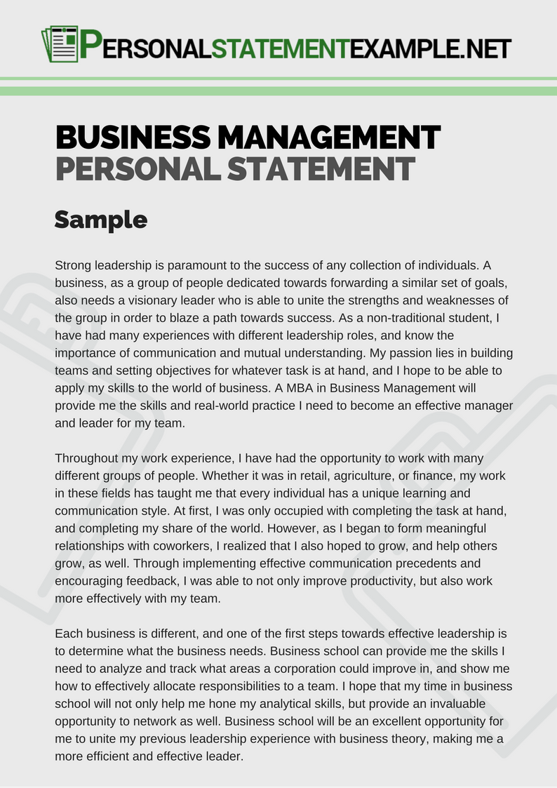 Business Management Personal Statement Example