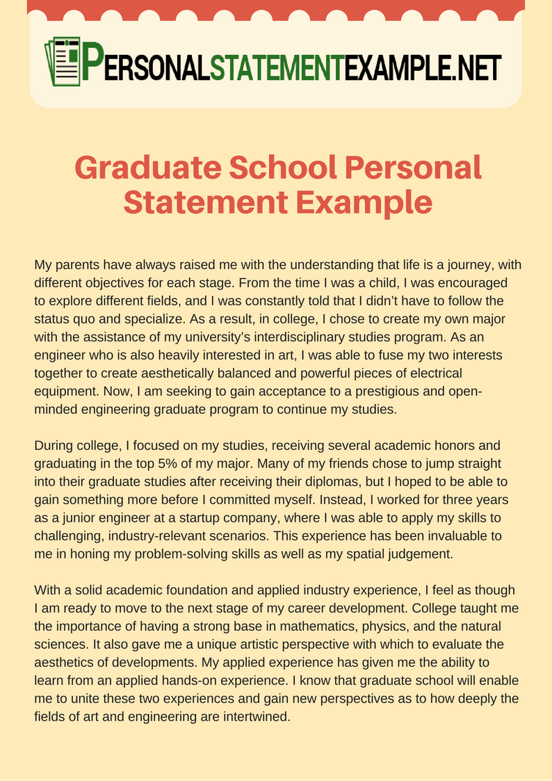 Beautiful Accurate Graduate School Personal Statement Example