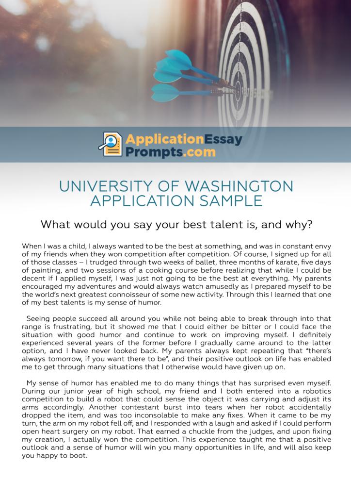 University of washington application essay