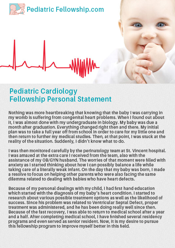 pediatric cardiology fellowship personal statement sample